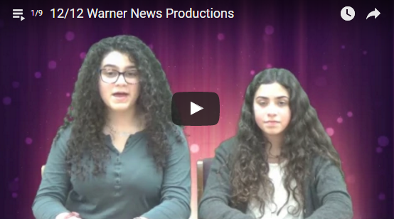 Warner News Channel showing two student anchors